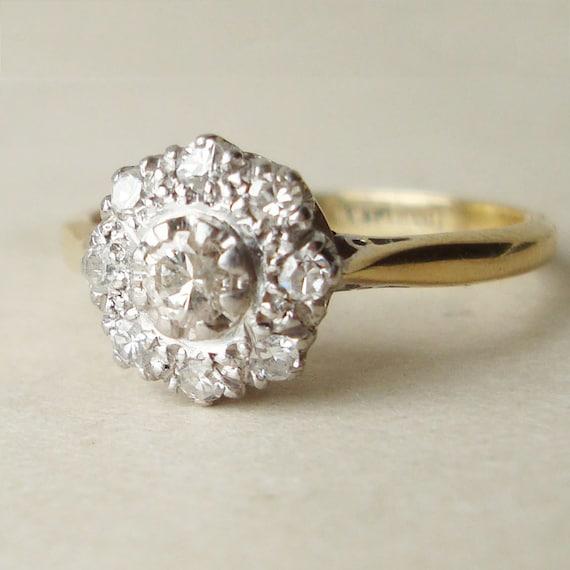 Antique Diamond Flower Ring Art Deco Diamond Cluster 18k Gold