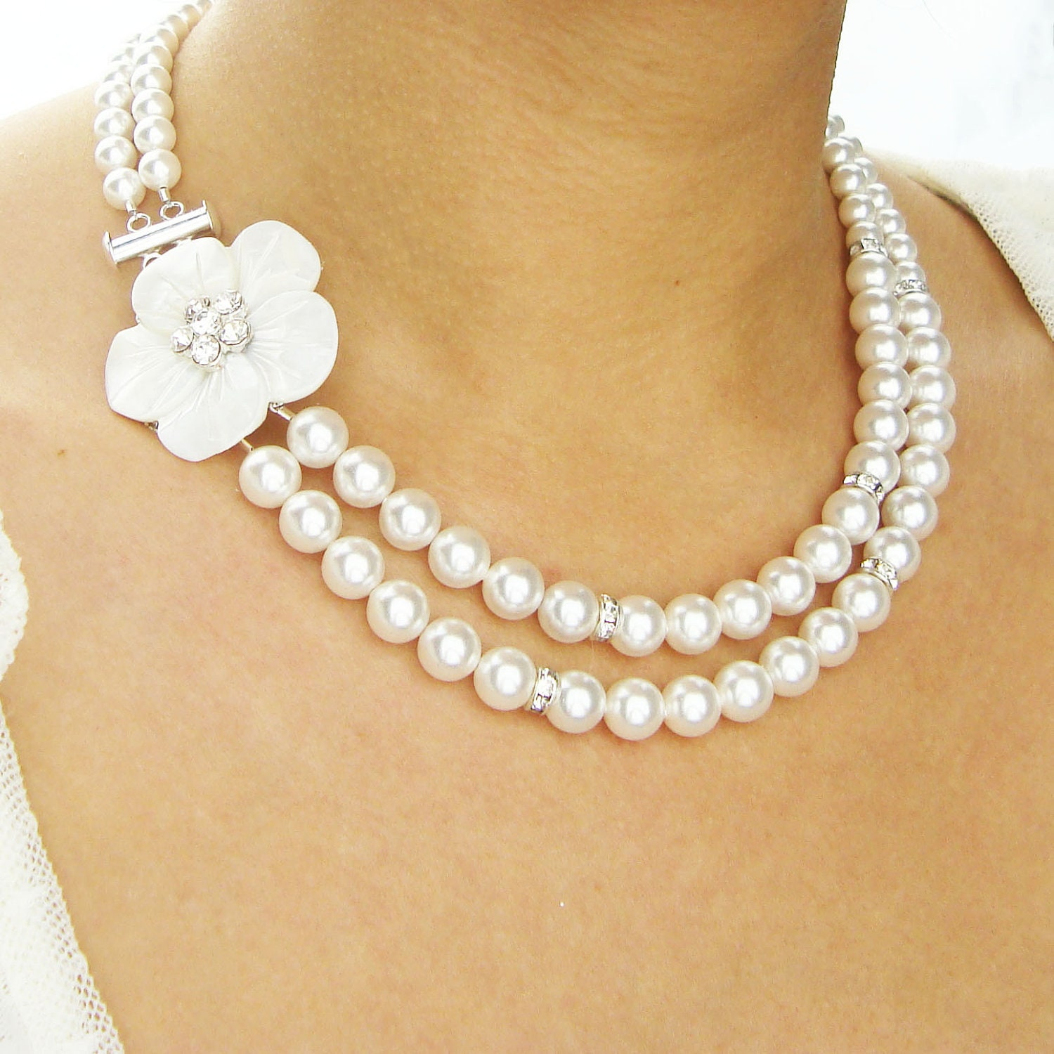 of pearl bridal necklace vintage bridal by luxedeluxe
