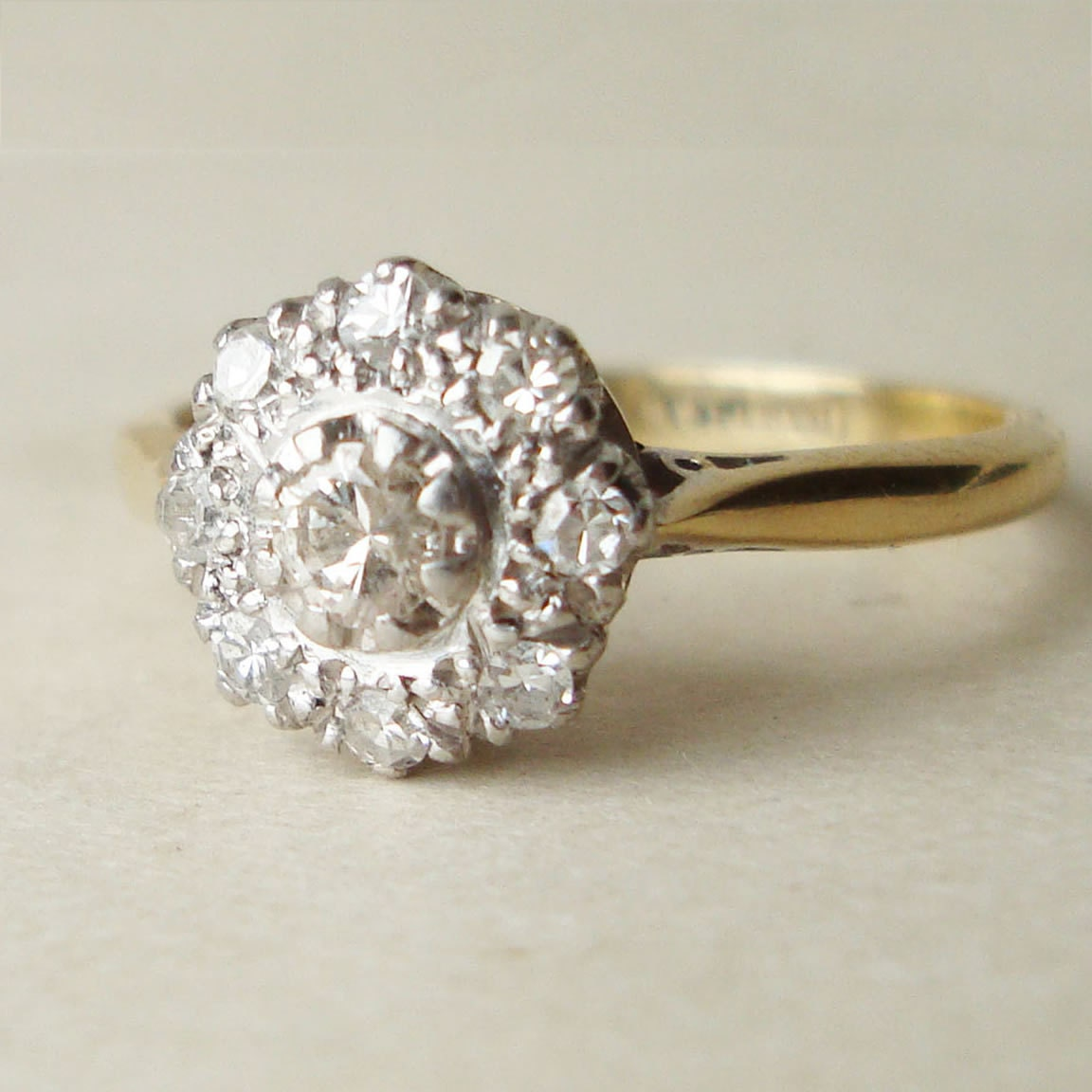 Antique Diamond Flower Ring Art Deco Diamond Cluster 18k Gold