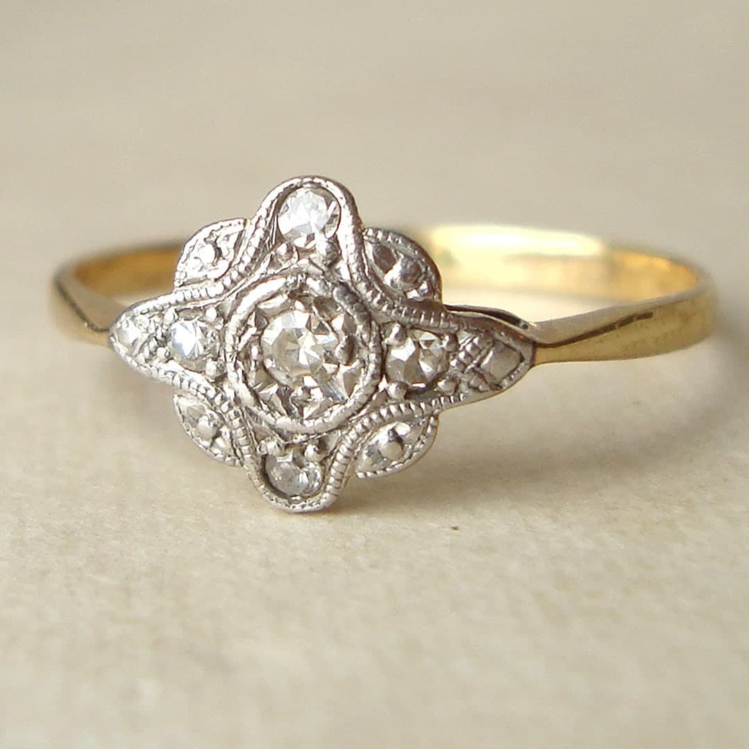 deco engagement ring antique ring by luxedeluxe