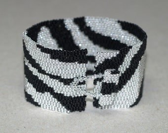 Zebra Glam ... Bracelet . Cuff . Black and Silver . Elegant . Wild Animal . Africa Inspired . Stripes . Fun . Funky . Abstract