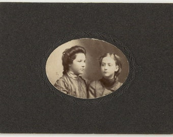 Vintage photo two girls profile unusual pose sisters