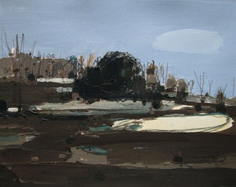Dark Sunday, Lost Dog Hill, Original Landscape Painting on Paper