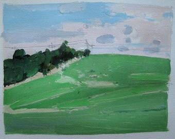 High Green, Original Landscape Painting on Paper, Stooshinoff