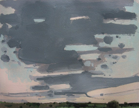 Sky Over County Road 10, Original Landscape Painting on Paper, Canada