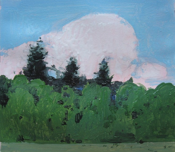Canada Day, Original Landscape Painting on Paper, Stooshinoff