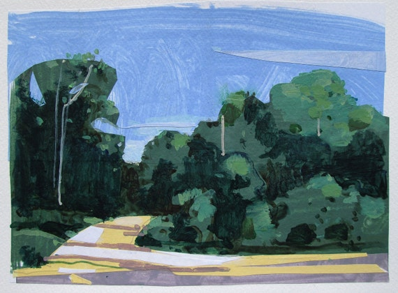 Forest Way, Original Landscape Collage Painting on Paper, Canada