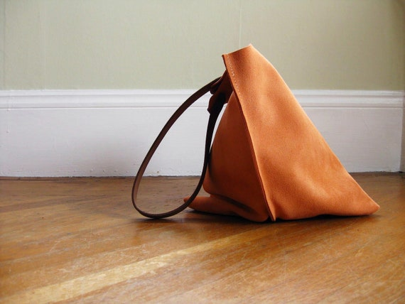 13in Wedge - Peach suede leather bag