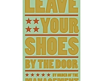 """Art for Entrance- Entry Room Decor - Leave Your Shoes by the Door Print 6"""" x 10"""" - Mud Room Sign Art for Kids - Kids Art Prints- Kid Decor"""