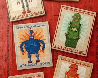 Retro Robot Art Block Signs- Kid Decor- Set of 6- Art for Boys Room- Robot Nursery Art- Robot Nursery Decor Boy- Kid Bedroom- Dad Gifts