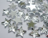 Acrylic Rhinestone Cabochon Beads, Faceted, Star, Clear, 10mm, 50pcs