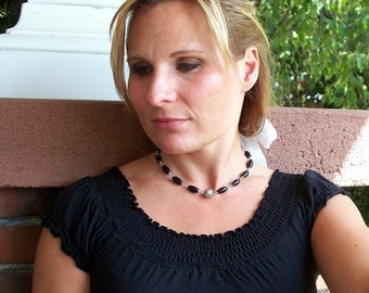 Downtown - Bali Sterling Silver and Black Agate Wire Wrapped Necklace And Earring Set SRAJD