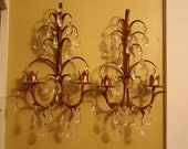 Italian Tole Wall Sconces with Cut Crystal Droplets.