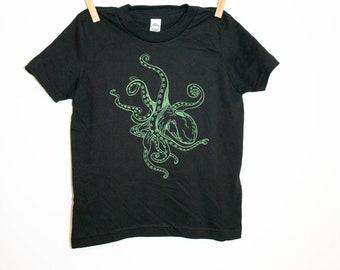 Green Octopus Black Toddler Shirt