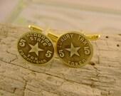 Stars Fell on Alabama - Antique Authentic Alabama Sales Tax Token Brass Cufflinks, Man Gift, Wedding Gift, Groomsman Gift