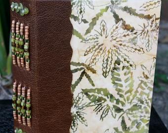 CANNABIS MARIJUANA LEAF Art Journal Blank Book with Leather Beaded Spine