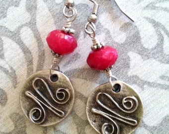 Antique silver ruby jade earrings