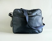 Navy Canvas Soft Sided Luggage Tote, Messenger / Travel / Camera Bag