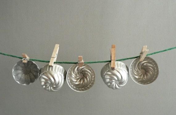 Tin Jello Mold Ramekins, Collection of Five