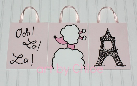 Pink Paris Poodle Eiffel Tower Nursery Art Painting - 3 Piece Set - READY to SHIP