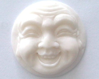 MS Happy Buddha Face Carved Bone Cabochon 19mm Bali Fair Trade