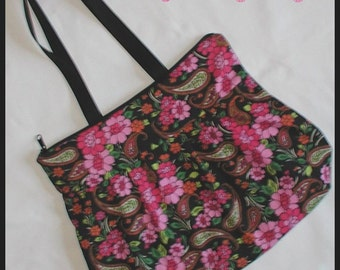 Colorful Flowers Purse Tote Bag Paisley Pink Black Burnt Orange Lime Kelly Green