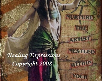 ARTIST WITHIN aceo atc print altered art card therapy vintage woman inspirational collage