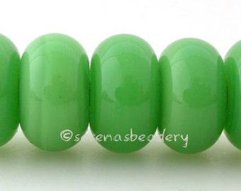 Lampwork Spacer Glass Beads 5 POISON APPLE GREEN Glossy or Matte Handmade Donut Rondelle - Taneres
