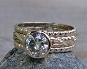 Forever Brilliant Moissanite and Recycled 14k White Gold Stacked Engagment Ring and Wedding Band Set - Diamond Alternative - Made to Order