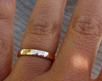 Recycled 14k Yellow Gold Wedding Band, Hammered, Polished, 3mm Wide, Comfort-Fit, Made to Order
