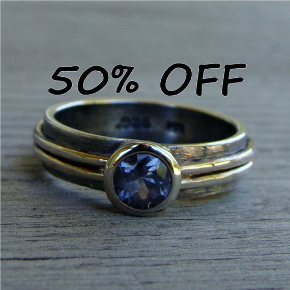 CLEARANCE - Fair Trade Spinel, Recycled 14k White Gold, and Recycled Sterling Silver Ring, size 6.25
