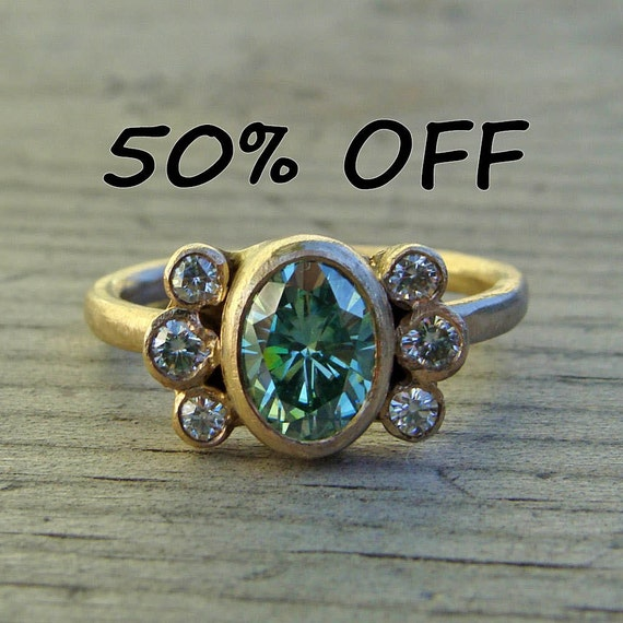 CLEARANCE - Wabi Sabi Ring - Moissanite and Recycled 14k Yellow Gold, size 6.5