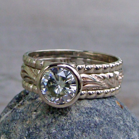 Forever One G-H-I Moissanite and Recycled 14k White Gold Stacked Engagment Ring and Wedding Band Set - Diamond Alternative - Made to Order
