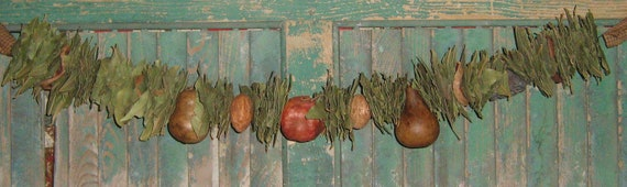 Bay Leaf Garland with Pomegranate and 2 Small Gourds   -  28 to 36 inches long - HANDMADE IN USA