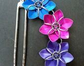 Hair Fork - Blue Pink Purple Flowers
