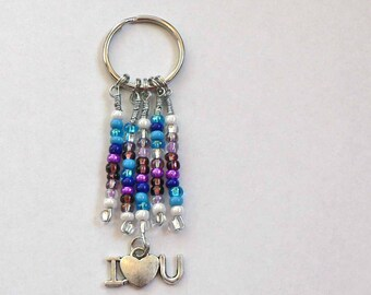 Colorful beaded Key Ring Keychain with YOU CHOOSE CHARM Colorful Bright Shiny Beads Native American