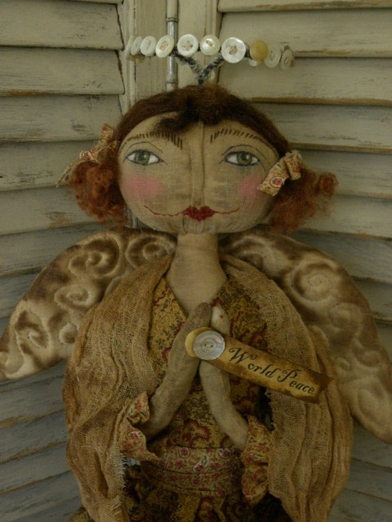 Primitive Doll Pattern, Christmas, Primitive Angel Doll,  Angel Doll Pattern, Cloth Doll, Mustard, Gold, Wings, World Peace,