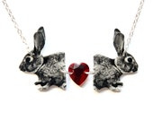 """Siamese Rabbit Necklace with Crystal Heart -  Illustration Jewelry - Silver 18"""" Chain"""
