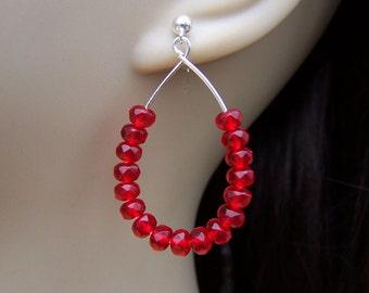 Red Glass Earrings. Red Teardrop Earrings. Rondelle Earrings. Czech Glass Earrings. Red Earrings