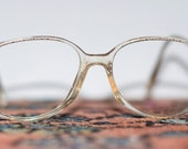 Vintage Womens Eyeglasses Oval Glasses with Pattern
