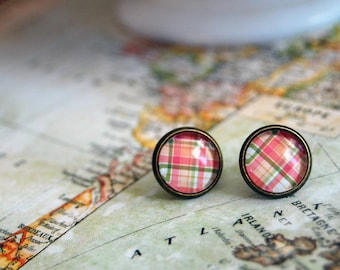 pink plaid preppy framed post earrings- aged brass- girly- glass cabochon