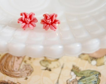 pink coral vintage lily post earrings