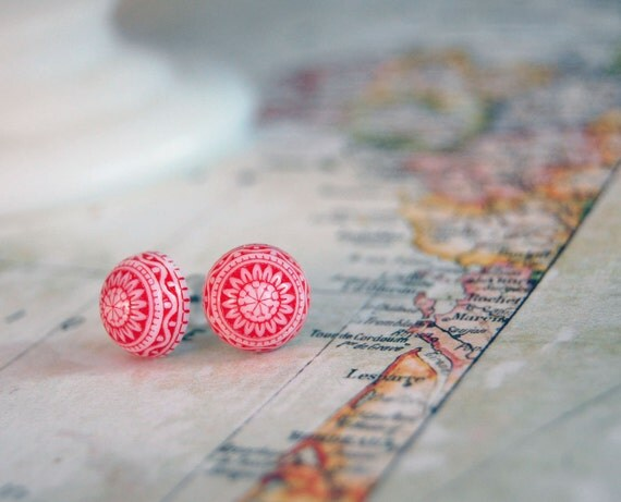 Vintage red and white scandinavian post earrings - folk holiday winter peppermint- fair isle