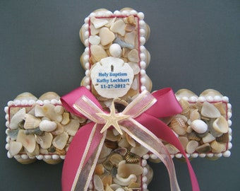Holy Baptism Seashell Cross can be Personalized