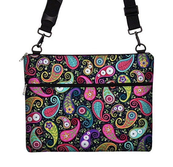 CLEARANCE Macbook Air 13 inch Laptop Bag MacBook Case Sleeve Cover Mac Laptop Messenger Bag with Strap Funky Paisley pink purple (RTS)