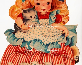 The Little Girl Who Had A Little Curl Vintage Greetings Card Digital Download Image (260)