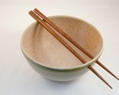 Bone Beige Pottery Rice Bowl with Chopsticks Ships Today  / Tan Noodle Bowl / Sushi Oriental