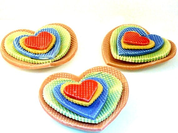 Five Tiny Nesting Hearts in Rainbow Colors Ships Immediately - - Ceramic heart shaped trinket dishes - teabag holder - minimalist decor