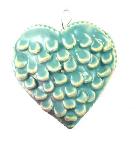 Angel Wings heart-shaped wall vase or business card holder in robin's egg blue - ready to ship