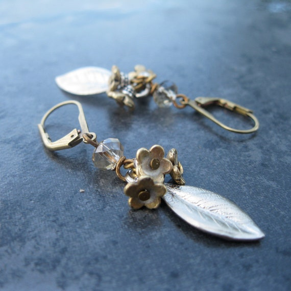 silver leaves and gold flowers earrings